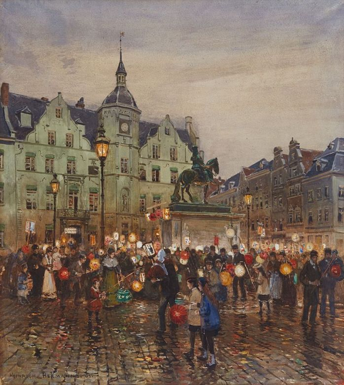 Heinrich_Hermanns_Sankt-Martins-Zug_vor_dem_Düsseldorfer_Rathaus_1905